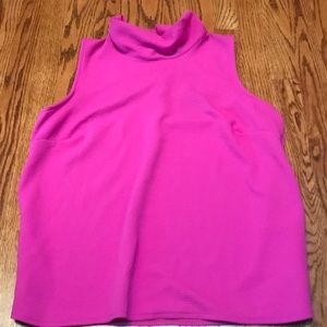 Hot Pink tank top with high neck